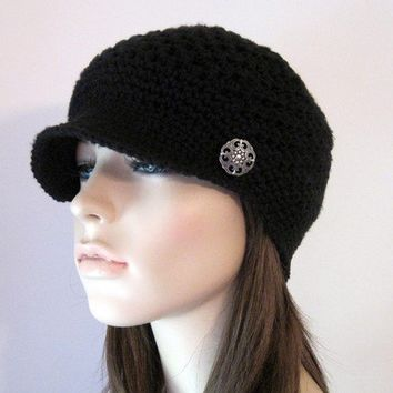 Newsboy Hat Women's Hat Newsboy Cap Crochet Hat by Monarchdancer