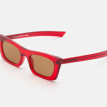 Super - Fred 53mm Red Sunglasses / Brown Lenses