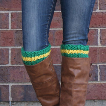 Boot Cuffs, Boot Toppers For Game Day / Green and Yellow
