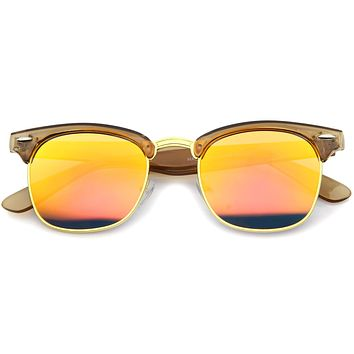 Retro Modern Horned Rim Half Frame Mirrored Lens Sunglasses A031