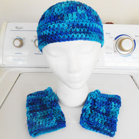 Crochet Blue beanie hat and fingerless gloves fits adults and kids