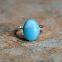 Larimar Statement Ring in Solid Sterling Silver