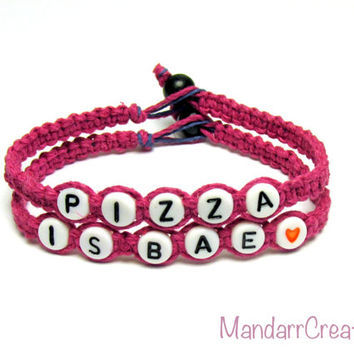 Pizza is Bae Bracelets, Set of Two, Punk Pink Hemp Jewelry for Pizza Lovers