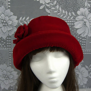 Red VELVET Hat with velvet rose, Women's Velvet Hat, Velvet Hat, Bright Red Velvet Hat