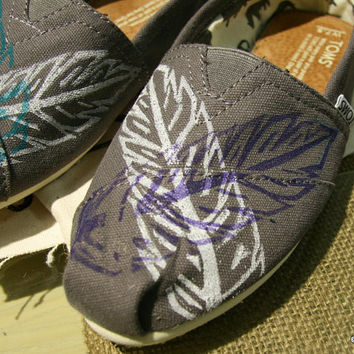 Feather TOMS Shoes, crossed