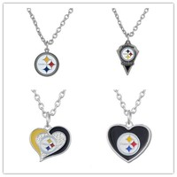 4 Style Alloy Sports Enamel Football Team Pittsburgh Steeler Pendant Necklace With 500+50mm Chain For Men & Women 20pcs/lot