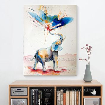 Skilled Artist Hand-painted High Quality Modern Abstract Funny Elephant Oil Painting on Canvas Spray Water Elephant Art Painting