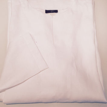 MEN  LINEN COLLARLESS SHIRT IN WHITE AND BLUE by ABY'S KIDS