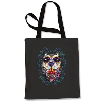 (Color) Pitbull Sugar Skull Day Of The Dead Shopping Tote Bag
