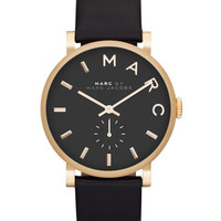 Baker Analog Watch with Leather Strap, Golden/Black