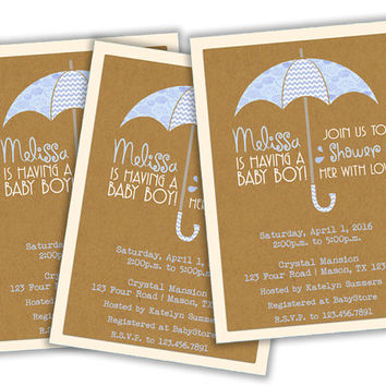Umbrella Baby Shower Invitation Boy - Spring Showers Baby Shower - It's a Boy - Clouds - Chevron - Spring Rain Blue Baby Shower Invites