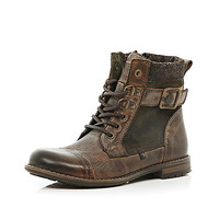 River Island Boys brown military boot
