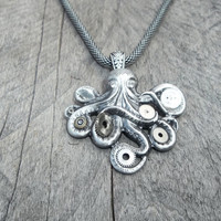 Steampunk Pendant Necklace, Silver Cthulhu with Watch Gears & Gems on Modified Box Chain