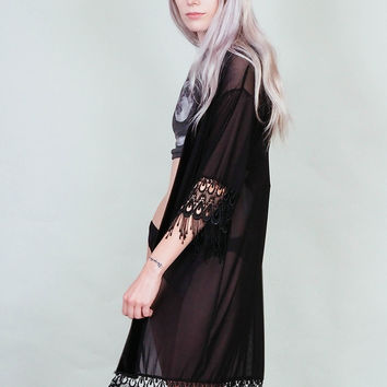 Errant Ways - Sheer mesh and lace kimono - Black