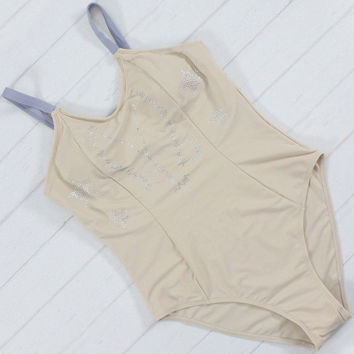 Nude Color Swimwear Women Double Layers Fabric High Cut Out One Piece Swimsuit Sexy Monokini Bathing Suit Rhinestones Bodysuit