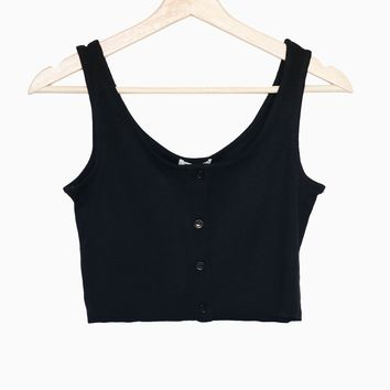 Button Accent Cropped Top - Black
