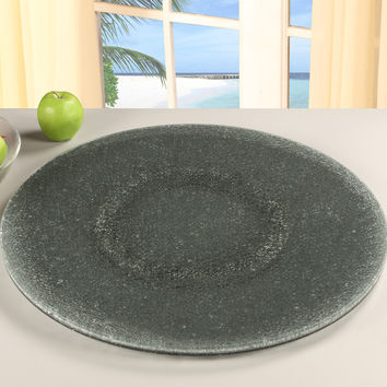 "Lazy Susan 24"" Grey Sandwich Glass Tray"