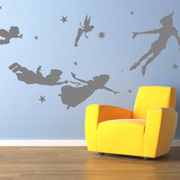 Peter pan wall decal, mural, stickers, wall art, tinkerbell, wendy, stars.