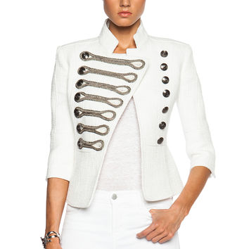 Pierre Balmain Military Jacket in White | FWRD