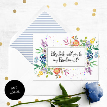 Personalized Will you be my Bridesmaid Printable Card-Colorful Flowers Bridesmaid Card-Maid Of Honor, Flower Girl Proposal-Floral Watercolor