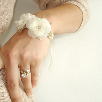 Flower Wrist Corsage Bride or Bridesmaid Wedding Accessory Rustic Burlap Lace