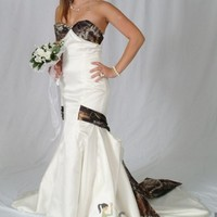 """3030 """"Lia"""" Mermaid Wedding Gown with Camo Bodice, Drop Sash Camouflage Prom Wedding Homecoming Formals"""