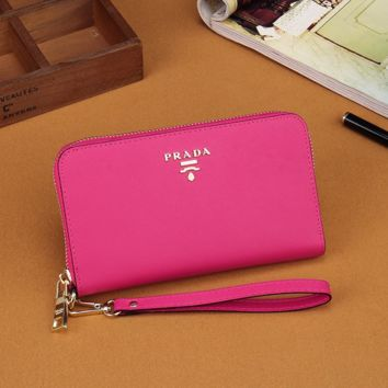 Prada Women Leather Zipper Wallet Purse- Rose Red