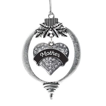 Black and White Mother Pave Heart Charm Holiday Ornament