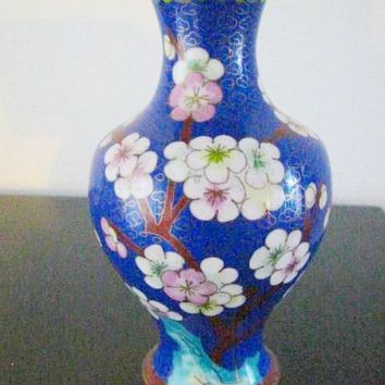 Oriental Blue Enamel Cloisonne Vase Japanese White Flowers Bird Over Brass