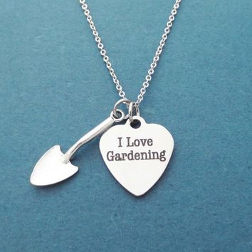 I love gardening, Shovel, Silver, Necklace, Birthday, Best friends, Sister, Gift, Jewelry