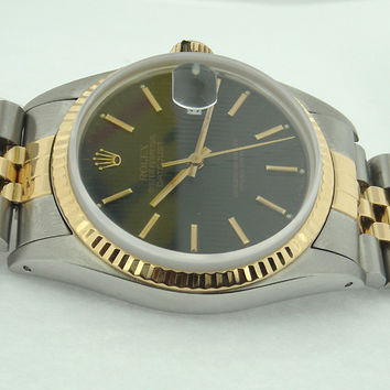 Rolex Date just oyester datejust black stick dial watch
