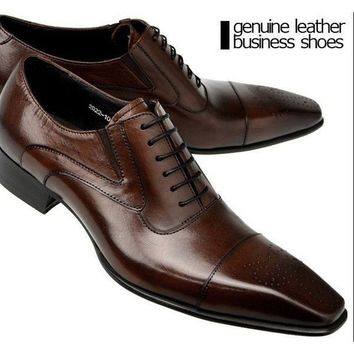 2017 New Genuine Brown Leather Business Shoes Men Classic Shoes Men Casual Leather Oxfords Men Dress Shoes