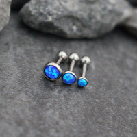 Opal Cartilage Earring, Tragus Stud Earring, Helix Piercing Jewelry, Triple Forward Helix, Cartilage Piercing Opal, Tragus Jewelry, 16 Gauge