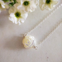 Carved White Shell Rose Pendant Necklace. Sterling Silver Choker Chain. Bridal Necklace, Christmas, Valentine's, Mother's Day, Gift Ideas