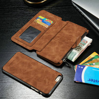 Genuine Leather REMOVABLE Detachable Wallet Card Case Cover For iPhone 6 6 Plus 6S 6S Plus