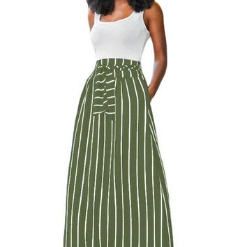 Chicloth Olive Green Striped Maxi Skirt