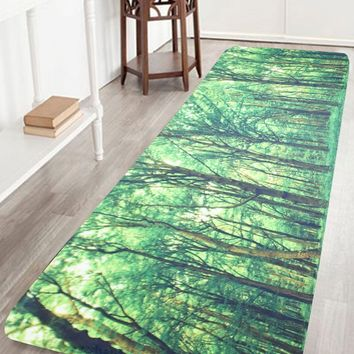 Coral Velvet Area Rug with Forest Pattern