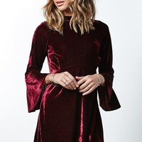 Motel Rocks Lou Velvet Babydoll Dress - Womens Dress - Maroon