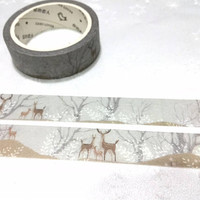 Autumn deer washi tape 7M deer in forest little deer winter landscape forest animal masking tape deer pattern deer themes decor gift tape