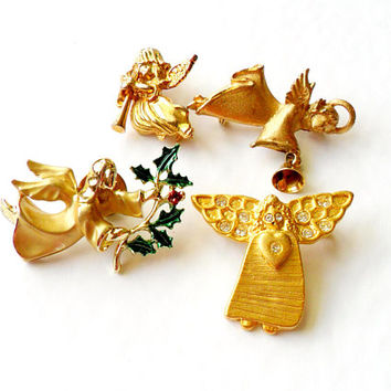 Vintage Angel Brooch Lot - Pin Broach - Christmas Jewelry - Gold Tone Metal - Rhinestone - Enamel Paint - Jingle Bell