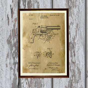 Vintage style wall decor Revolver poster Pistol patent print AKP24