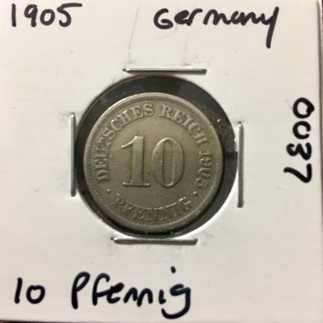 1905 German Empire 10 Pfennig Coin 0037