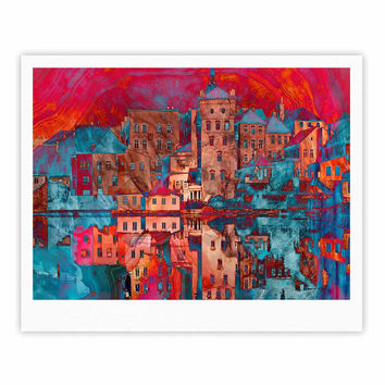 "Suzanne Carter ""Marbled Skyline"" Red Blue Fine Art Gallery Print"