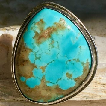 Big Navajo Turquoise Raindrop Ring by Augustine Largo Sterling Silver