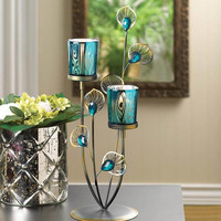 Double Peacock Feather Plume Stem Flower Candle Holder