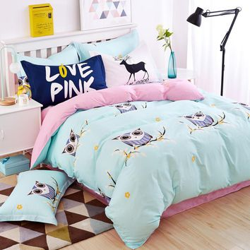 Blue owl girls/boys bedding set