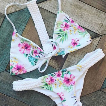 Beach Floral Bikini Set Beachwear Swimsuits
