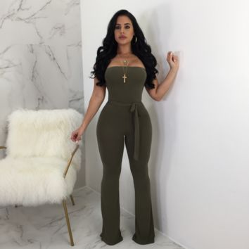 Naomi Strapless Belted Jumpsuit