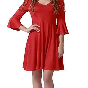 Talever Womens Solid VNeck Cocktail Flowy Party Racerback Fit Flared Maxi Midi Casual Dress with Bell Sleeve Red