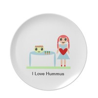 "Hummus Love ""I love hummus"" Dinner Plate from Zazzle.com"